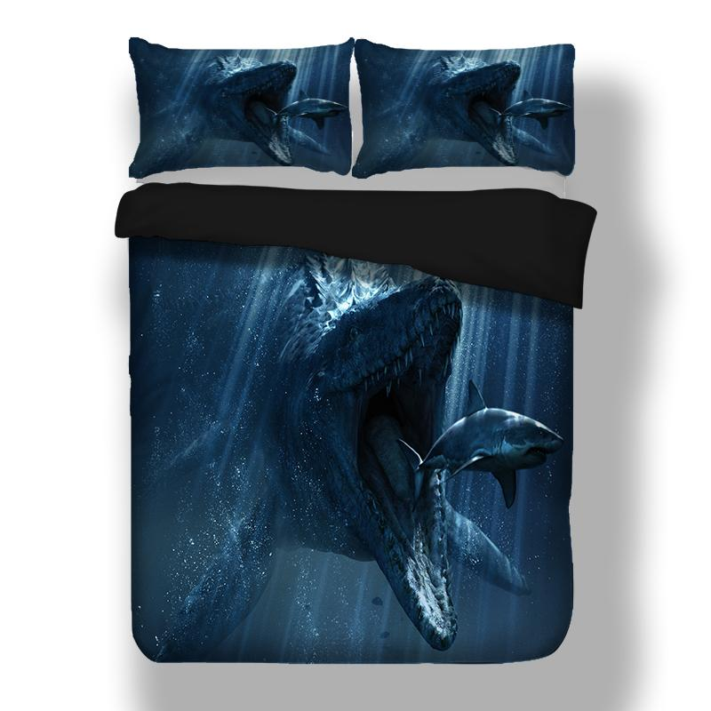 4638531ae822 Shark Dinosaur Design Twin King Queen Full Double Bedclothes Pillowcase  Duvet Cover Set Bedding Set Cotton Bedding Sets Designer Comforter Sets  From Roberte ...