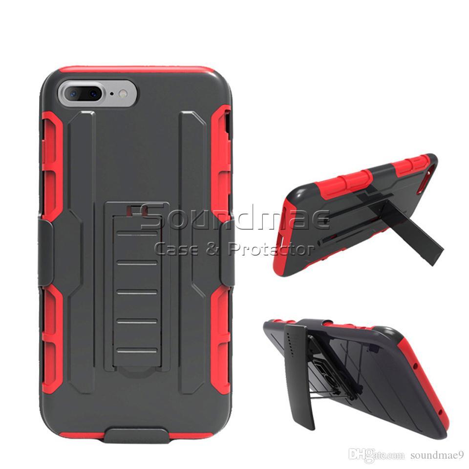 Armor Híbrido Caso 3 em 1 Combo Holster Belt Clipe Kickstand Protetor de Telefone Capa Protetora Para iPhone X 8 7 Plus Samsung Nota 8 S8 Saco OPP