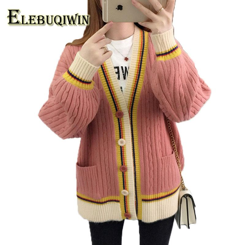 2b1efc8c26 2019 Spring Large Size Thicker Knit Cardigan Cashmere Sweater Women Jacket  Loose Sweaters New 2018 Autumn Coat Female Sweater LS144 From Alberty