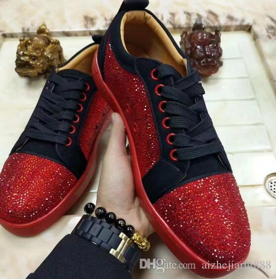 e289f652dea 2018 New Low Spiked Toe Casual Shoes Rivet Shoes Red Bottom Luxury ...