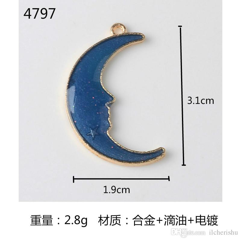 Japan and South Korea new enamel star crescent Moon charms alloy Pendant Earrings dangle DIY accessories material package jewelry