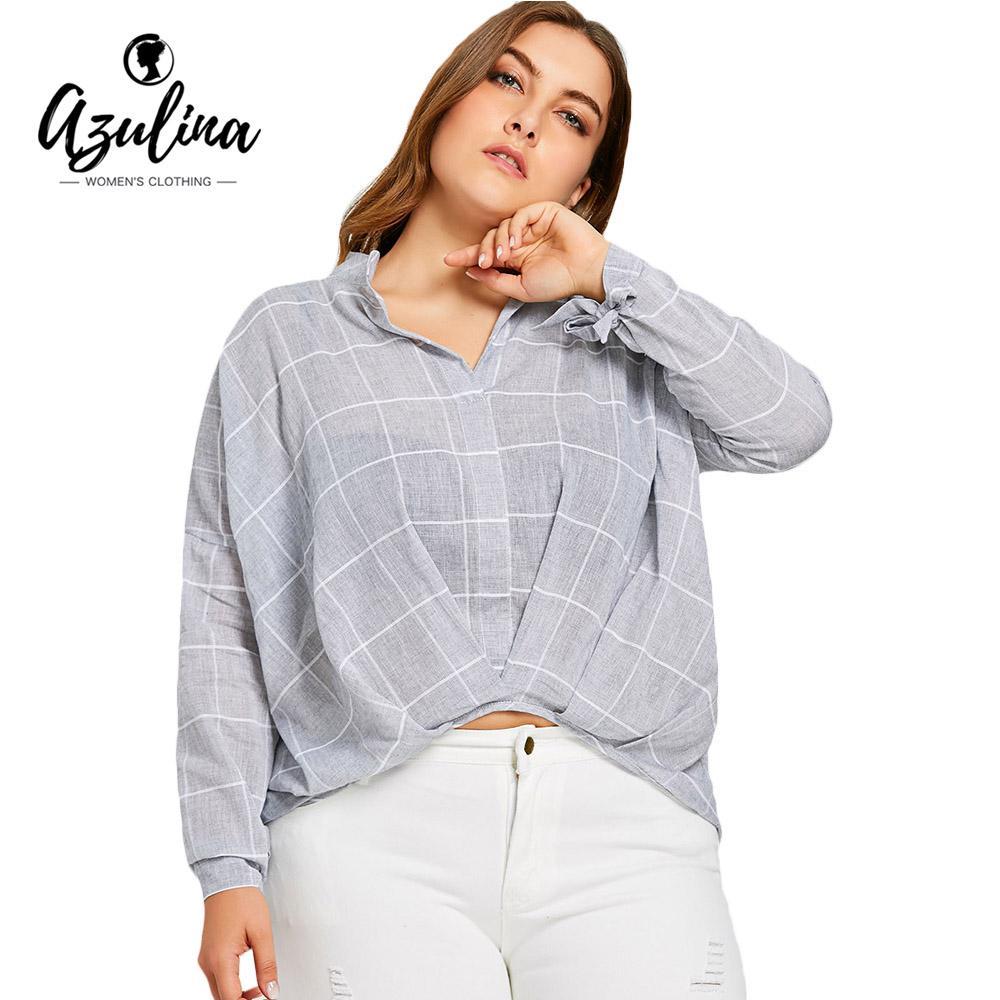 6584efb0c76 2019 AZULINA Grid High Low Women Plus Size Blouse 2018 Autumn Long Sleeve V  Neck Plaid Shirts Casual Big Size Ladies Tops Blouses 5XL From Aprili