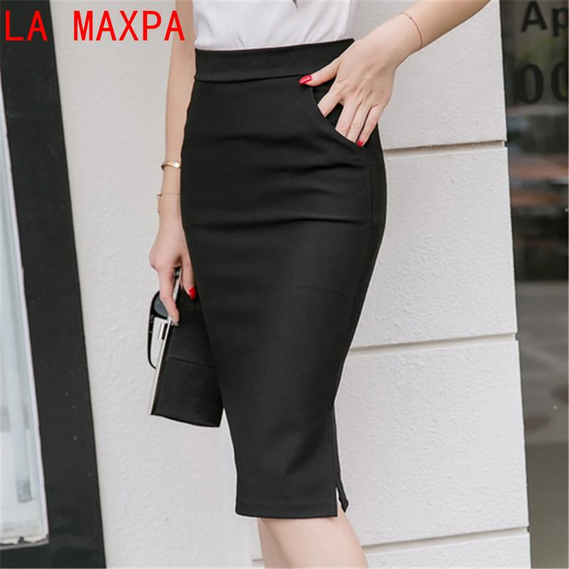 d8980ca068 2019 Autumn Spring Plus Size Sexy Office Skirt Women Elastic High Waist  Maxi Midi Skirts Faldas Long Formal Pencil Skirt Saias 2017 From Zanzibar