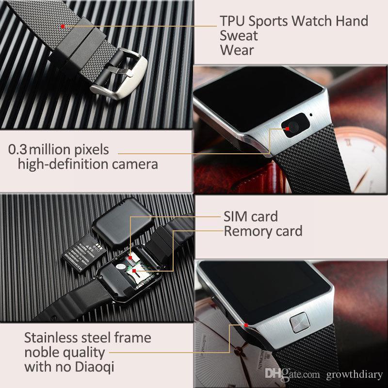 الحرة الشحن DZ09 بلوتوث سمارت ووتش الهاتف ماتي GSM SIM لالروبوت فون سامسونج هواوي الهاتف الخليوي 1.56 بوصة DHL الساعات الذكية مجانا