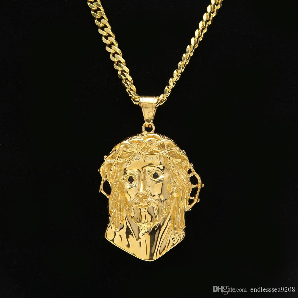 Uwin Din İsa Adet Yüz Kolye En Kaliteli Paslanmaz Çelik Altın Renk Kolye Mısır Mısır Takı Erkekler Ve kadınlar Için