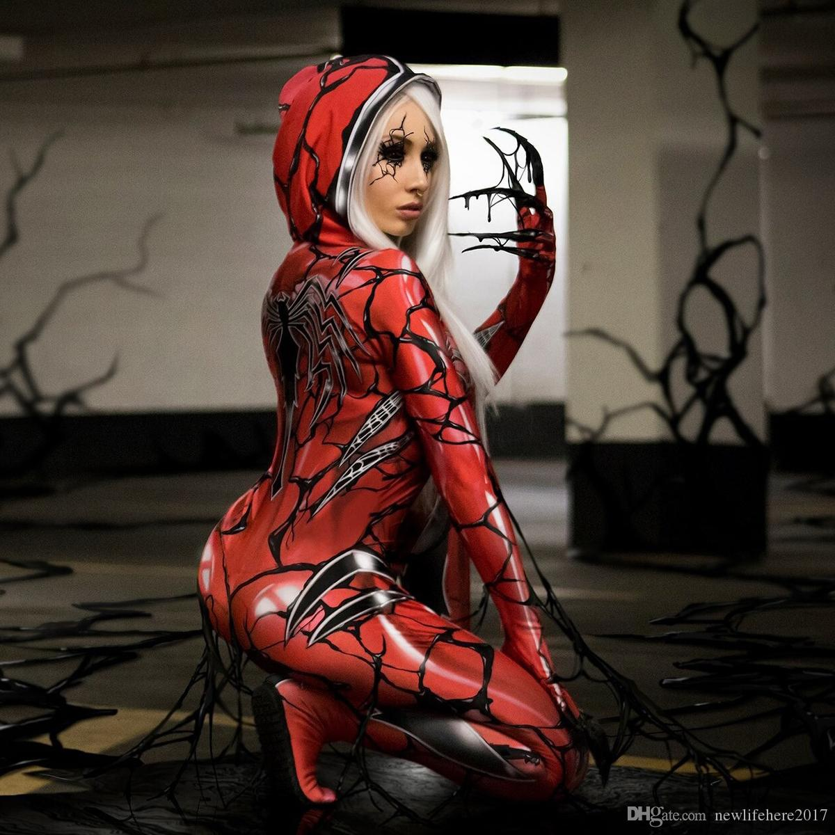 Spider Man Red Carnage Venom Cosplay Costume Superhero Theme Spider