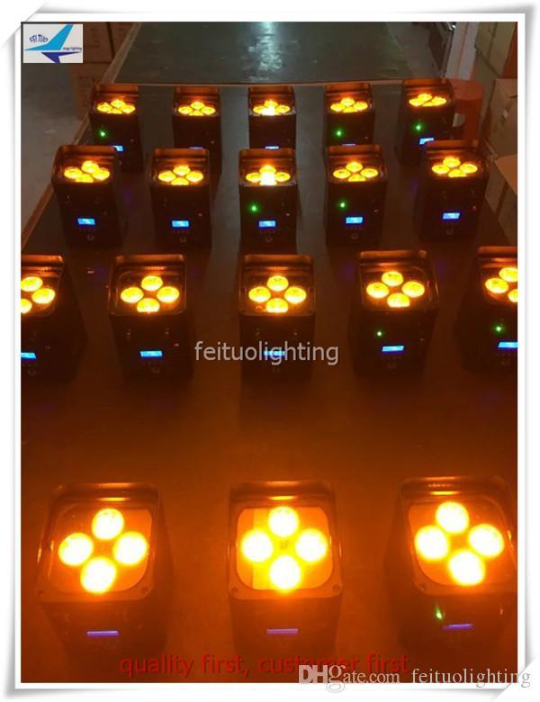 4 قطعة / الوحدة wifi الذكية الاسمية 6 * 18 واط بطارية تعمل dmx led uplighting rgbwa uv 6 في 1 led للأحداث الزفاف lcd عرض