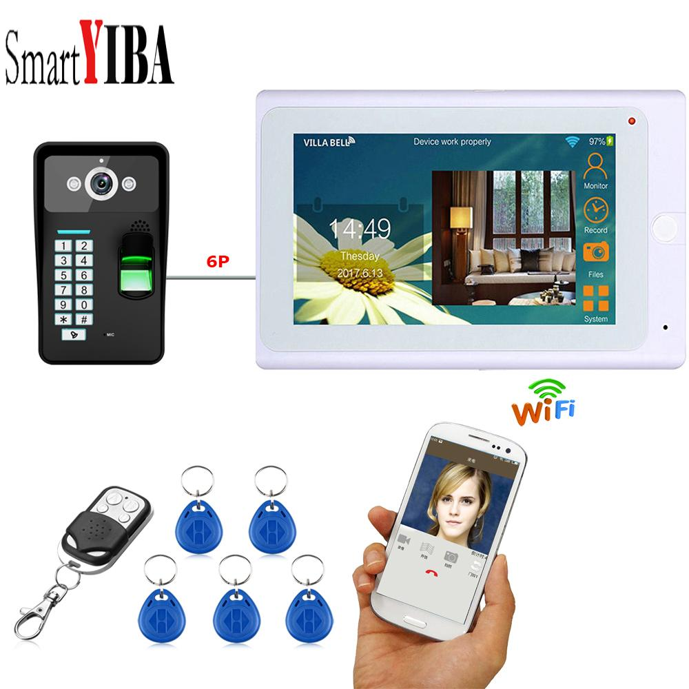 SmartYIBA APP Remote Control 7 Inch Monitor Wifi Wireless Video Door Phone Doorbell Entry Intercom KIT Fingerprint RFID Password Lock Camera