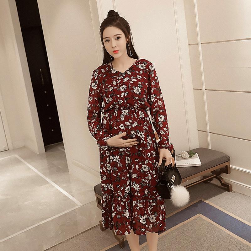ae0ca58ae Compre Floral Impreso Gasa Maternidad Vestido Largo Primavera Cintura  Delgada Ropa Para Mujeres Embarazadas Moda Coreana Embarazo A  17.59 Del  Mingway245 ...