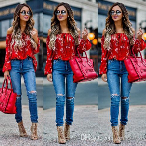 a80537135e63e 2019 New Women Off Shoulder Tops Red Slash Neck Floral Autumn Long Sleeve  Shirt Casual Blouse Loose Crop From Crazy931