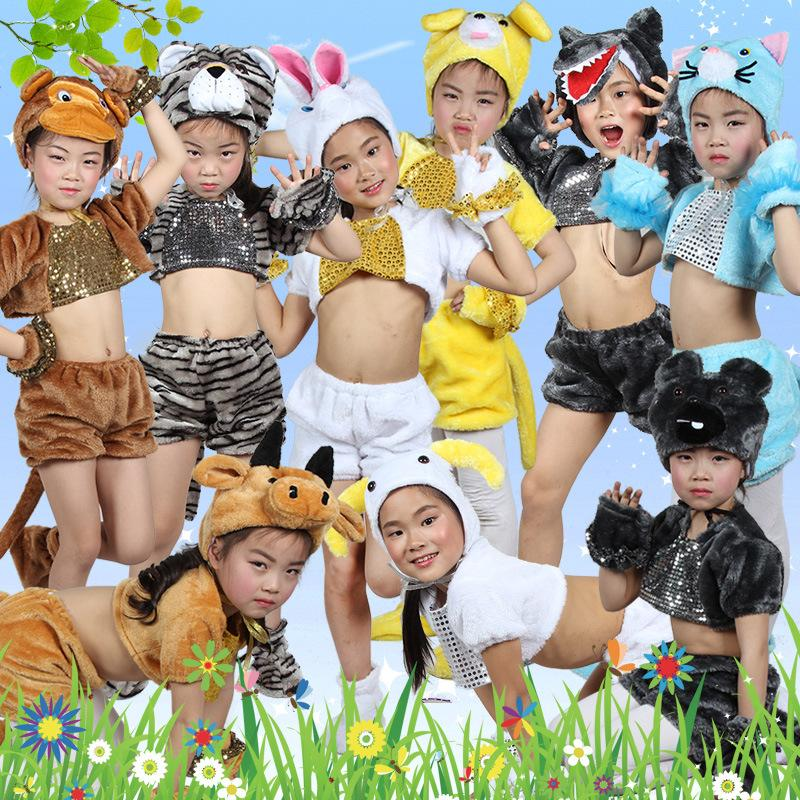 2018 New kids Carnival Clothing Children's Day Animal Costumes tiger monkey bear wolf rabbit Show Cartoon Halloween Costumes