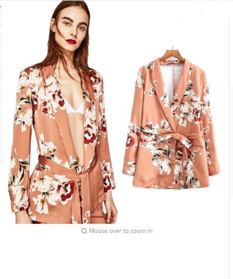 Compre 2018 Flower Print Blazer Feminino Sashes Mujeres Slim Fit ... 5376e61109ad