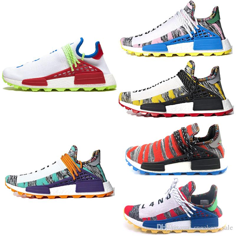 6fec449fc3a9 2019 Hot Sale NERD Human Race Hu Trail X Pharrell Williams Men Running Shoes  Solar Pack Afro Holi Canvas Mens Trainers Women Sports Sneakers From ...