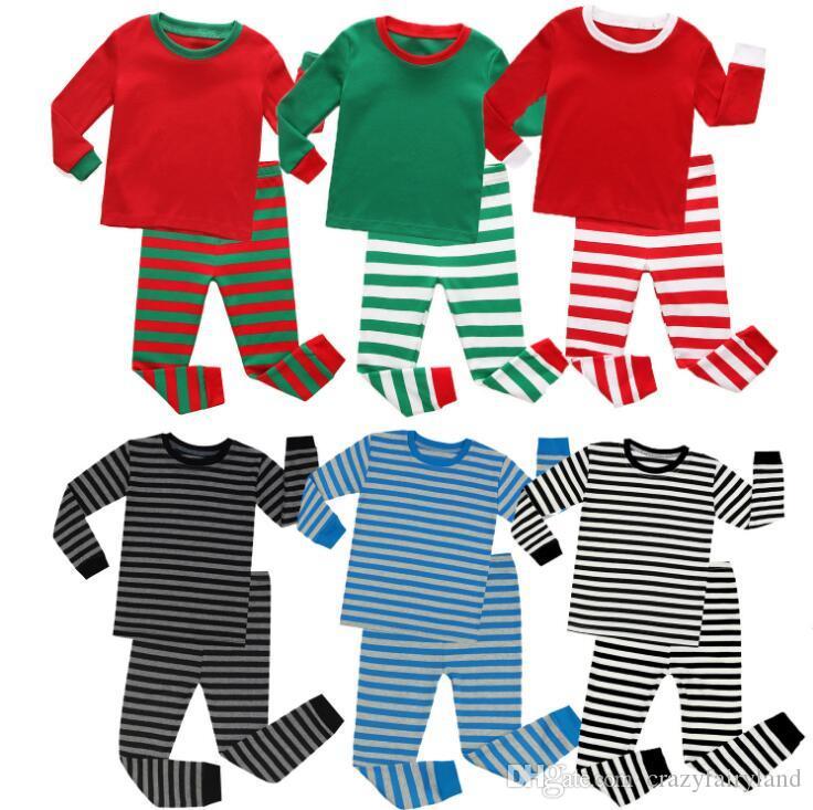 Kids Christmas Pajamas Set Outfits Children Long Sleeve Cotton Striped  Pyjamas Christmas Nightwear Unisex Sleepwear Clothes Kid Pajamas Girl  Pajamas From ... 82969567a