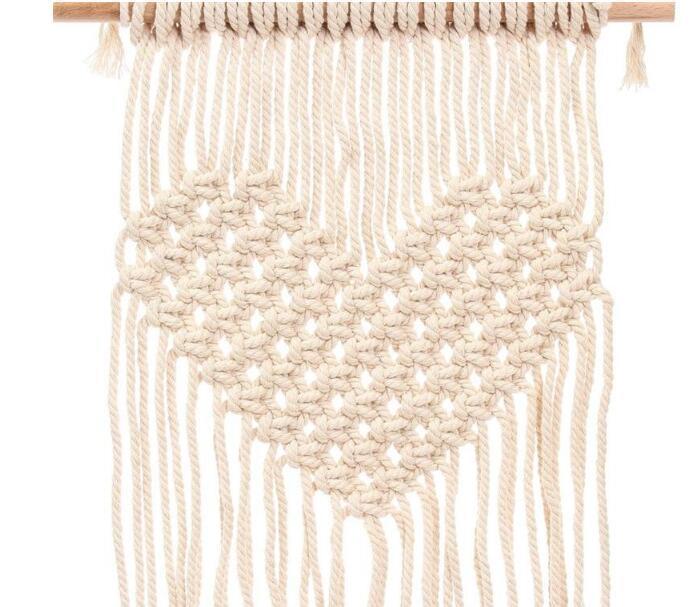 Handgemachte strickende Herz-Tapisserien böhmischer Makramee gesponnener Wand-hängender Tapisserie-Ausgangshochzeits-Dekoration 21 5cm C R