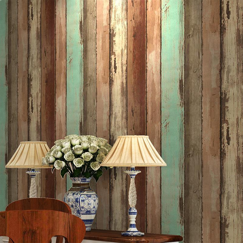 Großhandel Retro Holz Tapete Moderne Einfache 3D Geprägte Holzbrett ...