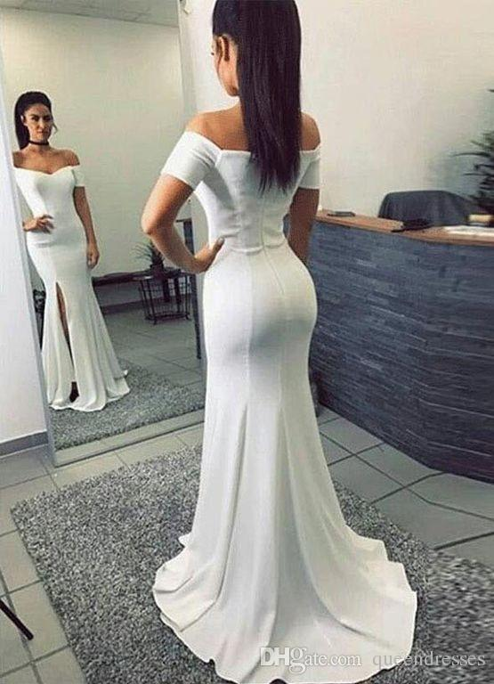 Simple White Long Evening Dresses With Short Sleeve Off Shoulder ...