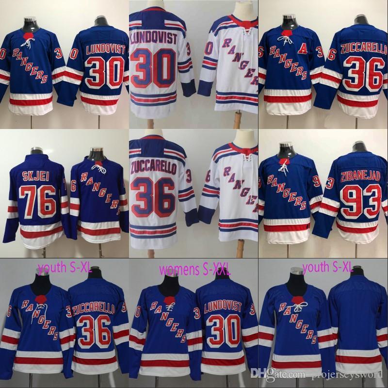 newest 7bdfa bc04f New York Rangers Jersey 22 Kevin Shattenkirk 30 Henrik Lundqvist 36 Mats  Zuccarello 93 Mika Zibanejad Mens Womens Youth Hockey Jerseys