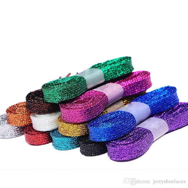 160 centimetri / 63 pollici nuovo arrivo lacci brillanti piatte stringhe alla moda scarpe sportive tela unisex shoestrings i