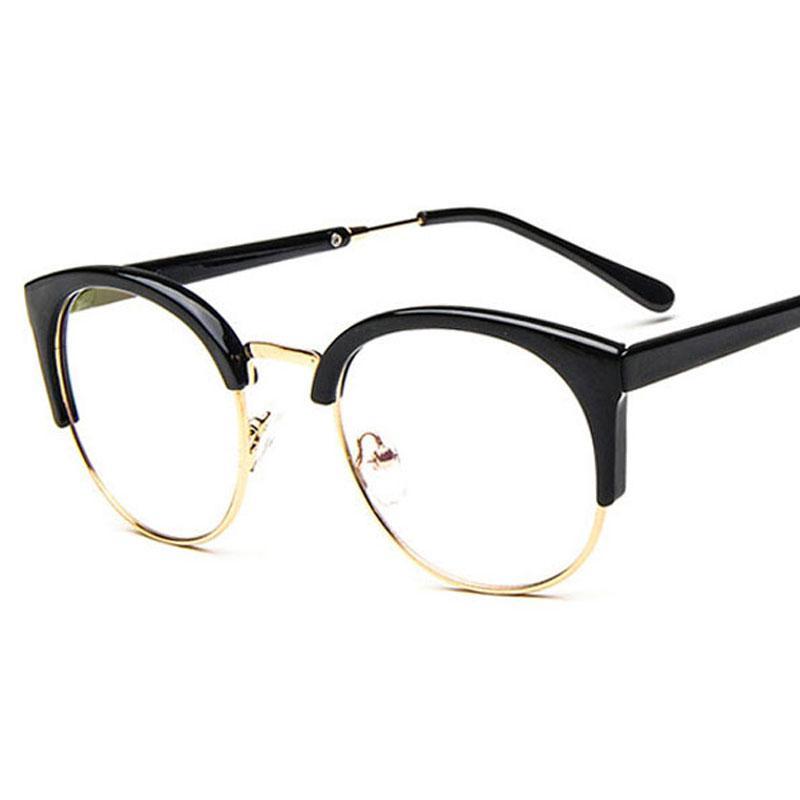 2292835f9 المرأة النظارات الإطار الرجال خمر معدنية مستديرة نصف إطار العلامة التجارية  تصميم النظارات قصر النظر النظارات النظارات البصرية العدسات واضحة