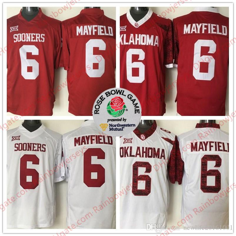 2019 NCAA Oklahoma Sooners  6 Baker Mayfield 2018 Rose Bowl Patch College  Football Heisman Jerseys OU Stitched Men Youth Kid Red White Limited From  ... 1b7e28481