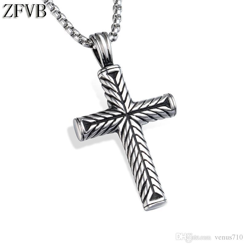 daeda35b40af Wholesale ZFVB Vintage Mens Cross Pendant   Necklace High Quality 316L  Stainless Steel Religion Cross Necklace Pendants Men Jewelry Gift  Aquamarine Pendant ...