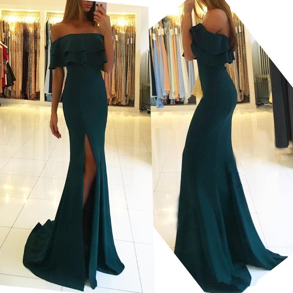 d42ec5f968 2019 Dark Green Mermaid Evening Dresses Side Split Off The Shoulder Satin  Long Prom Gowns Simple Party Wear Cheap Evening Short Dress Floor Length  Evening ...