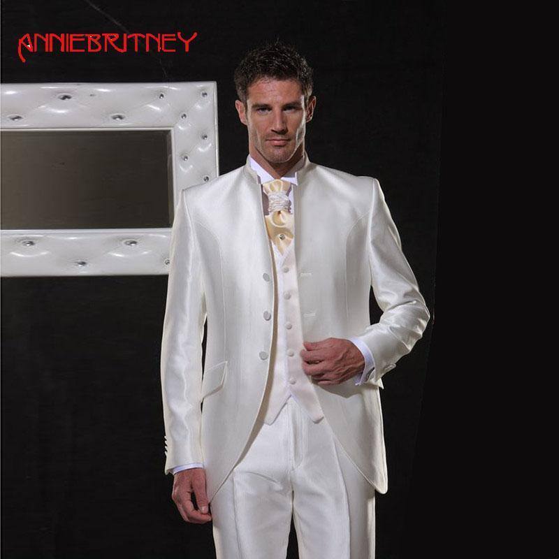 Italien Costumes En Mariage De Blanc Pour Homme Satin Acheter 2018 Y4qTq