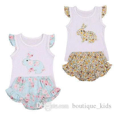 80a979ee6d4b Summer 2018 Girls Clothes Cute Baby Girl Toddler Rabbit Pattern Tops  +Ruffles Shorts 2pcs Baby Outfits Set Kids Clothes for Girls Clothing