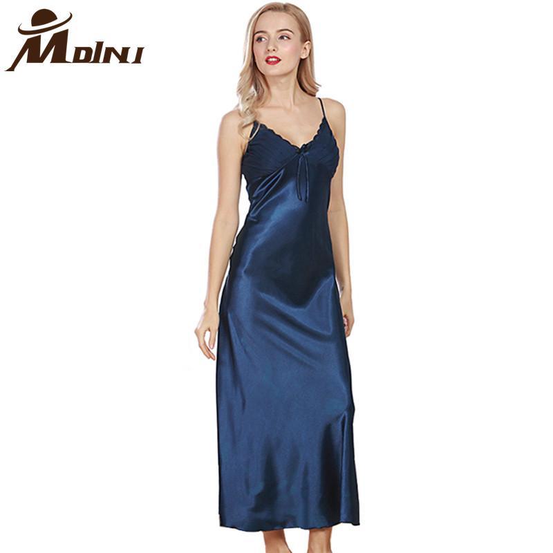 28d142f10 2019 Women Long Nightgowns & Sleepshirts Female Sleep Lounge Satin ...