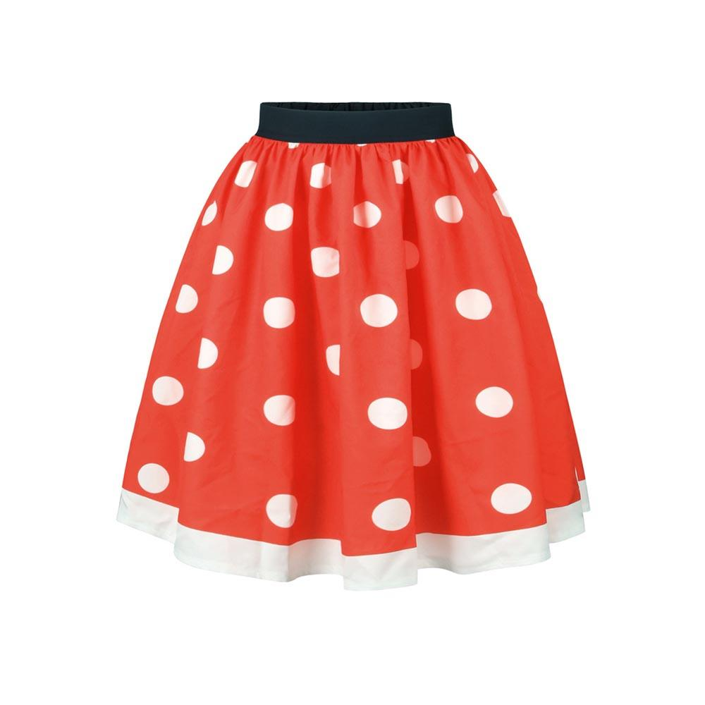 3edf02ac69 2019 Women Casual Polka Dots Print Midi Skirt Vintage Red Pleated Ball Gown  Fashion Color Block Summer Autumn Female Classic Skirts From Beasy112, ...