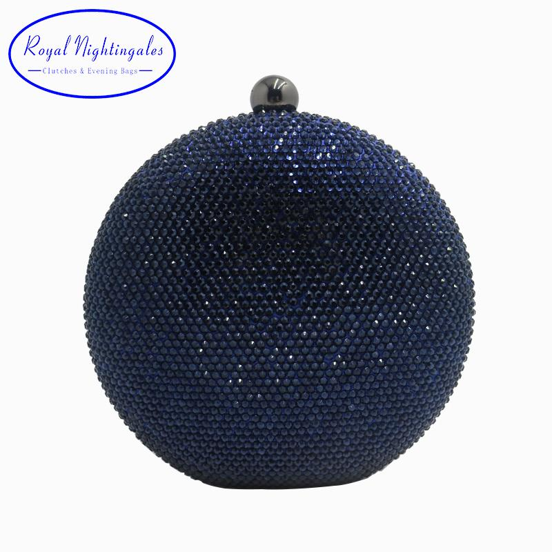 Pink/Navy Round Hard Case Crystal Box Clutch Bag Evening Bags for Womens Party Prom Wedding and Matching Shoes and Even Dress