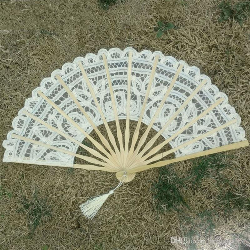 Lace Hand Fan Manual Embroidery Double Deck Folding Fans Beige Wedding Favors For Guest Gifts Arts And Crafts 12 5tr ff