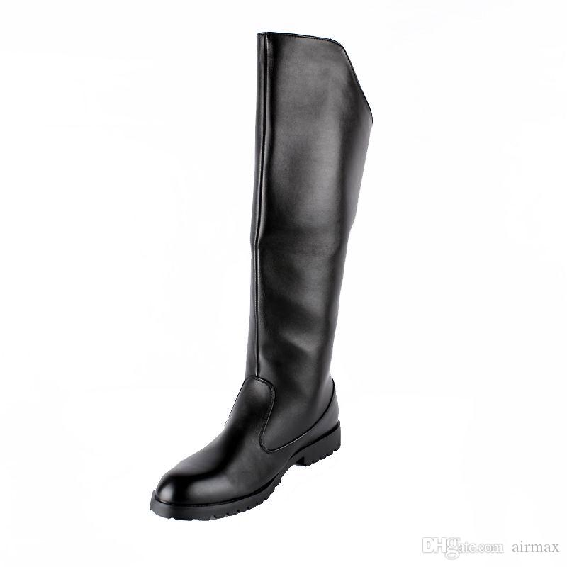 30698dc61 Hot Selling Men Black Knee High Boots British Desiger Round Toe Back Zip  Long Boots Shoes Man Motorcycle Boot Hombre Chaussure Size 37 44 Leather  Boots For ...