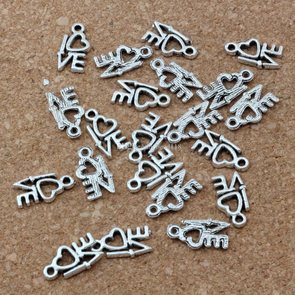 amore Pendenti di fascini 500 Pz / lotto Vendita calda gioielli in argento antico fai da te 8 x14mm A-170