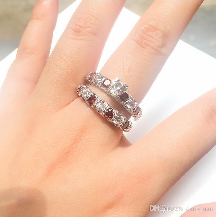 Drop Shipping High Quality Vintage Fashion Jewelry 925 Sterling Silver Pear Cut Topaz&Ruby CZ Gemstones Women Wedding Bridal Heart Ring Set