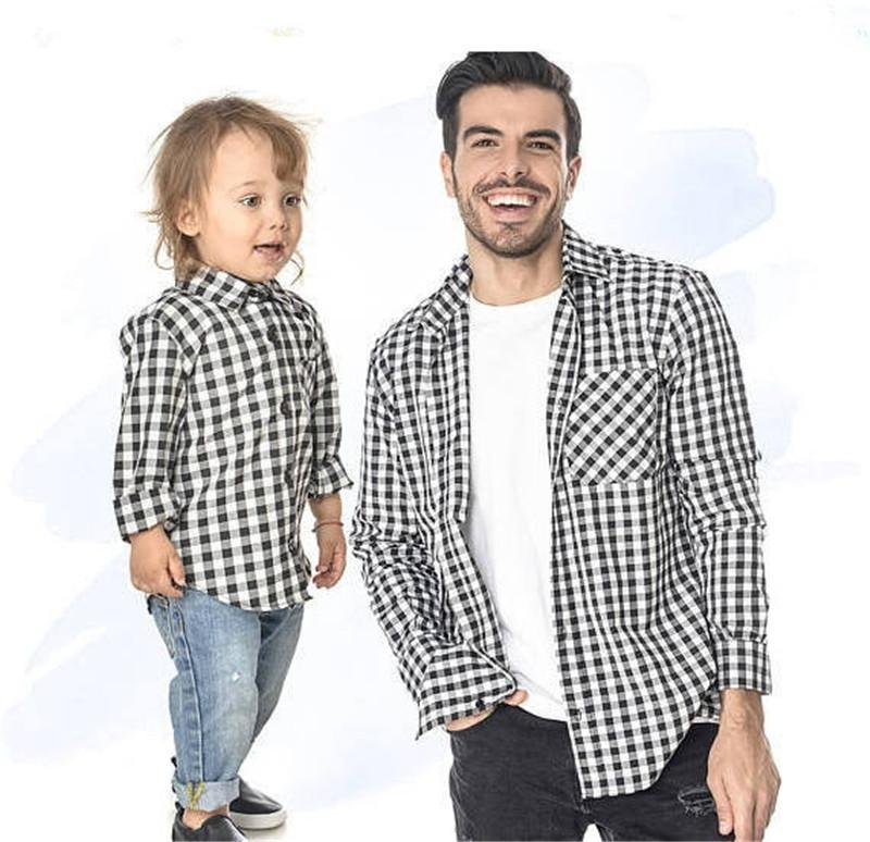 Família YorkZaler Combinando Roupas Mãe Filha Roupas Pai Filho Outfits Mãe Primavera Outono Família Camisa Treliça Xadrez Camisa