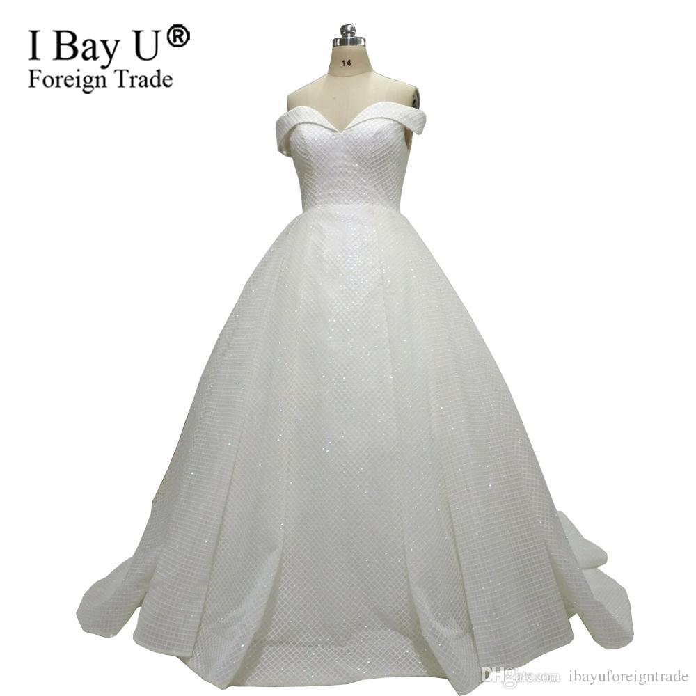 Vestido De Festa Glitter Sequined White Ball Gown 2018 Sexy Off ... e472aee734eb