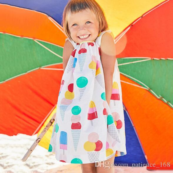 Little maven 2018 new summer European and American style baby Kids loose and comfortable high quality cotton cartoon ice cream kids dress