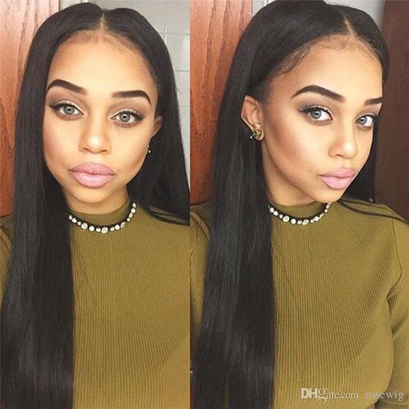 Silky Straight Brazilian Virgin Hair Full Lace Human Hair Wigs For Black Women 8-26 Inch Natural Hairline