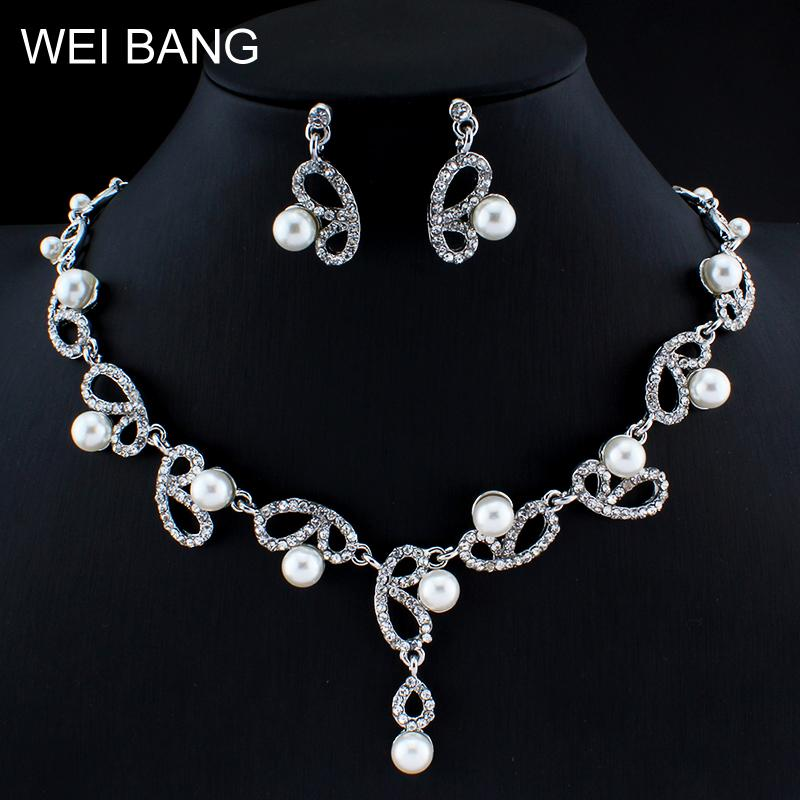 Wei Bang Bridal Jewelry Set Charm Imitation Pearl Necklace Earrings Gold Color Rhinestone Wedding Accessories Gifts Bridal Jewelry Sets Jewelry & Accessories