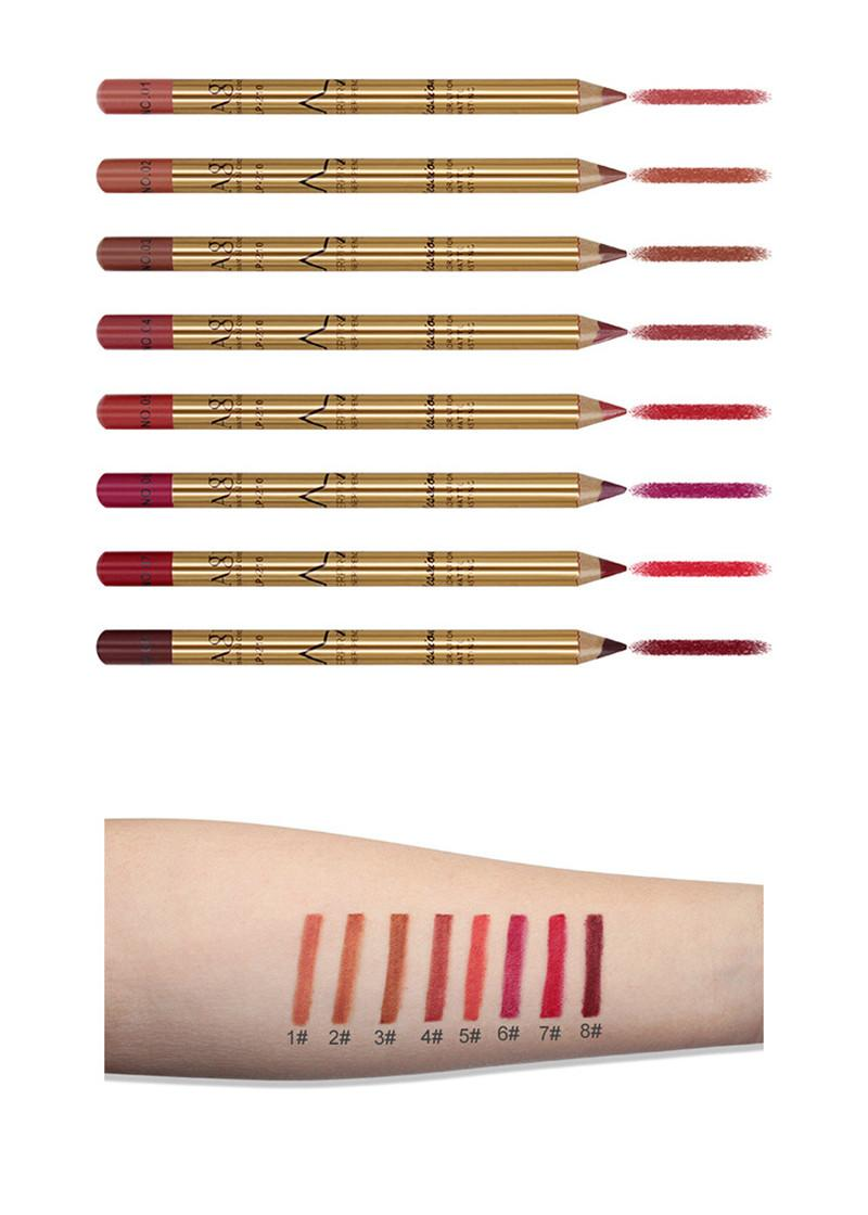 8 Cores Lip Liner Lápis Maquiagem Set Kit Natural À Prova D 'Água de Longa Duração Lip forro Lápis Make Up Cosméticos Ferramenta bea508