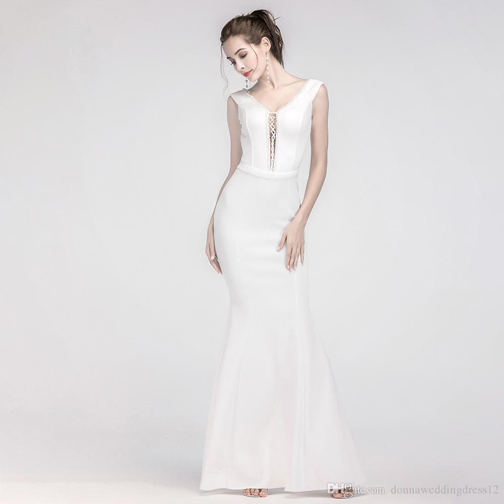 caeb30a4d Compre 2018 Nuevo Simple Blanco Largo Vestido De Fiesta De Encaje Hasta El  Frente Rebordear Sirena Vestidos De Noche Para Mujer Vestido De Fiesta  Formal ...