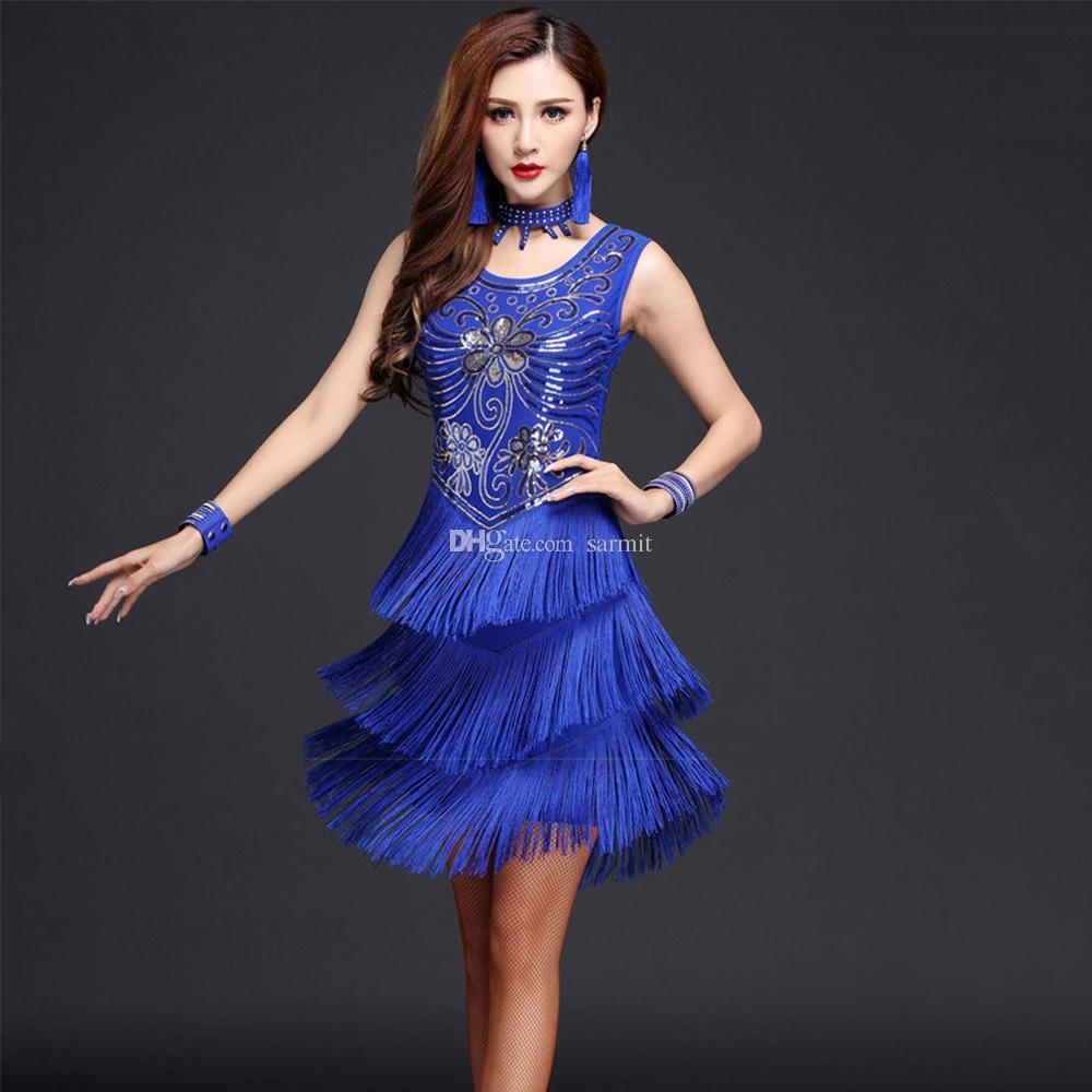 großhandel latin dance kleid frauen samba salsa tango tanzkleid flapper  d0051 mit pailletten blumen quasten 2 farben von sarmit, 25,92 € auf