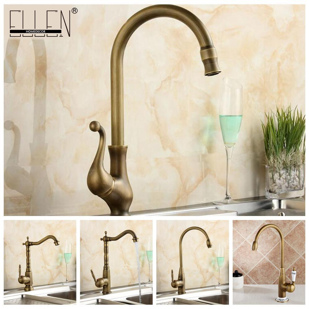 2019 Antique Brass Finish Kitchen Faucet Bronze Single Handle Hot
