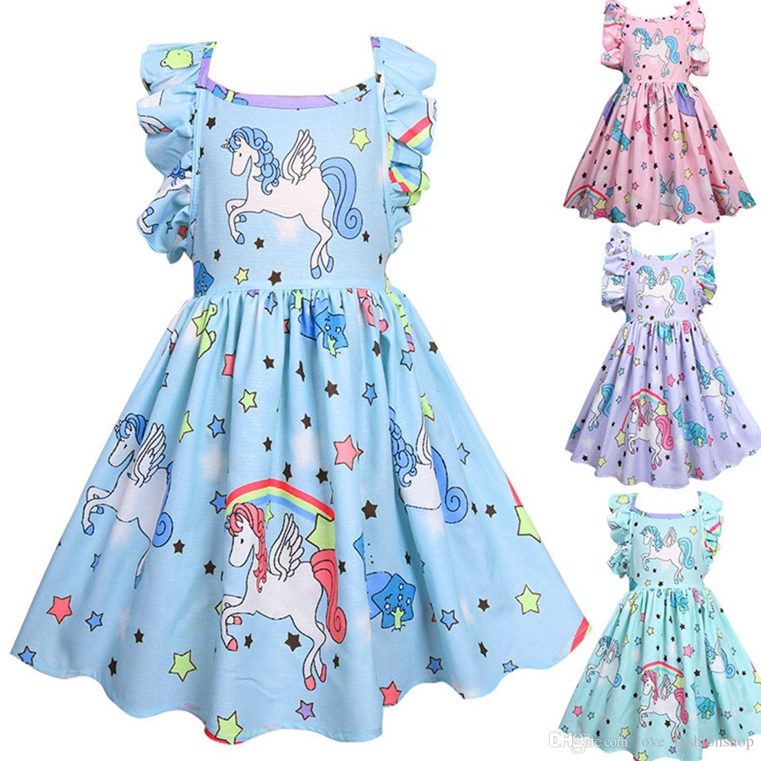 2020 ins baby girls cartoon unicorn printed dress kids