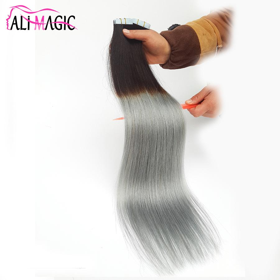 Factory Outlet Ombre Brazilian Hair Two Tone Tape Hair Extensions
