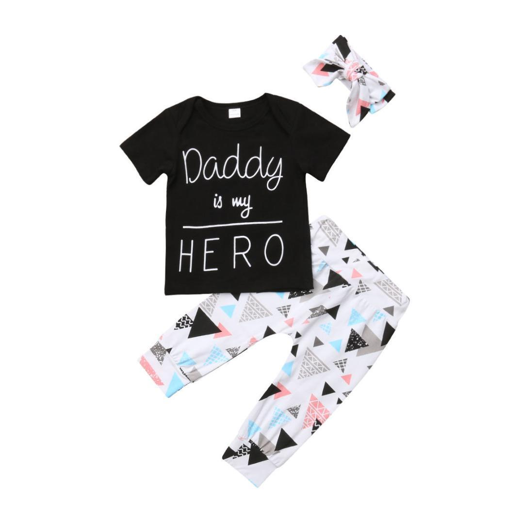b251a15fb 2019 Pudcoco Newborn Kids Baby Boys Girls Tops T Shirt Triangle Pants  Headband Outfit Clothes From Hanlley, $46.21 | DHgate.Com