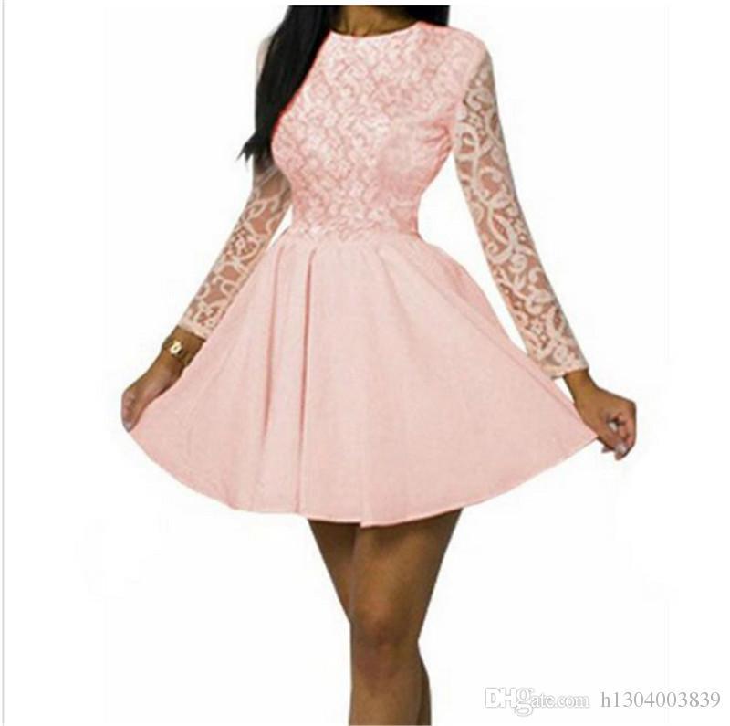 eb21d0e7ec4 Home≫ Apparel≫ Women S Clothing≫ Dresses≫ Casual Dresses≫ Product Detail  New Office Autumn Winter Women Sweet Dress Long Sleeve Lace Dress Cute ...