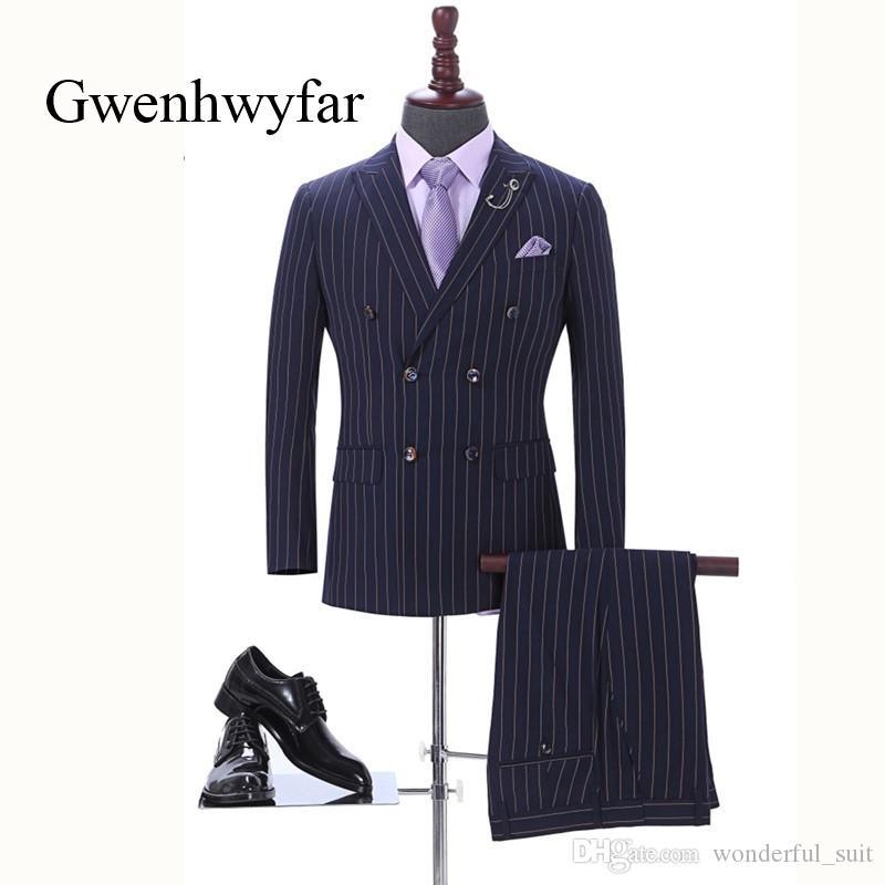 Grosshandel 2018 Marke Manner Zweiteiler Weiss Streifen Kleid Anzuge